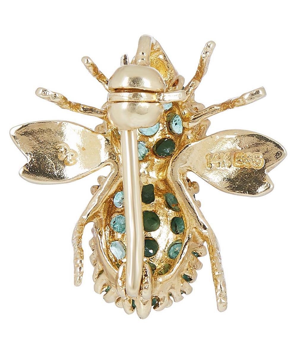 Gold Emerald Bee Brooch