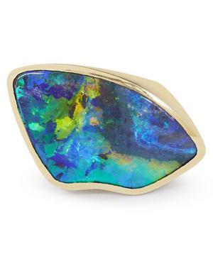 Gold Black Opal Ring