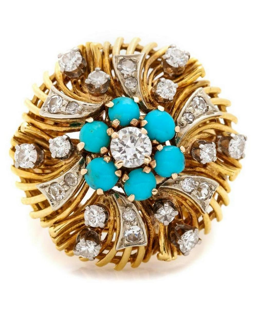Gold Diamond and Turquoise Dress Ring