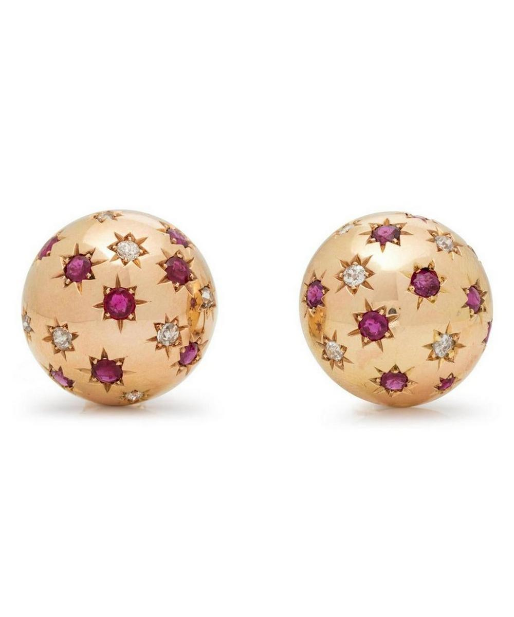 Gold Ruby and Diamond Stud Earrings