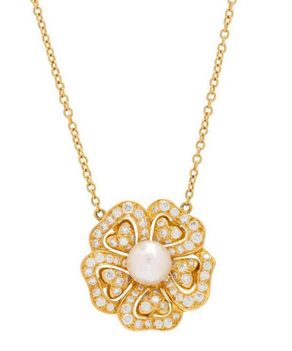 Gold Diamond and Pearl Flower Pendant Necklace