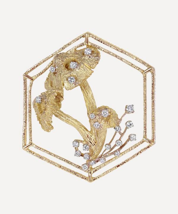 Kojis - 18ct Gold Diamond Mushroom Brooch Pendant Necklace