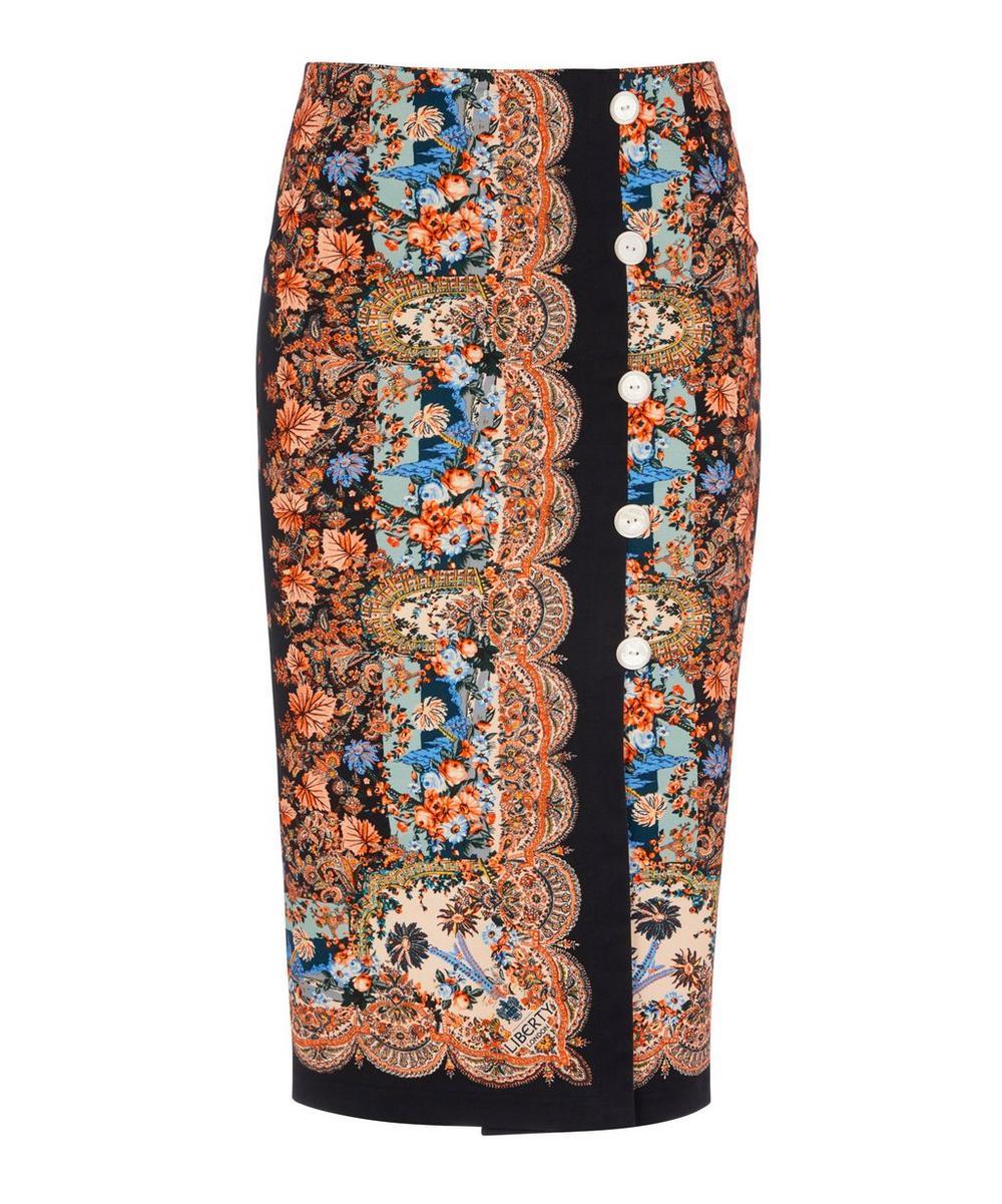 Dina Stretch Cotton Button Skirt