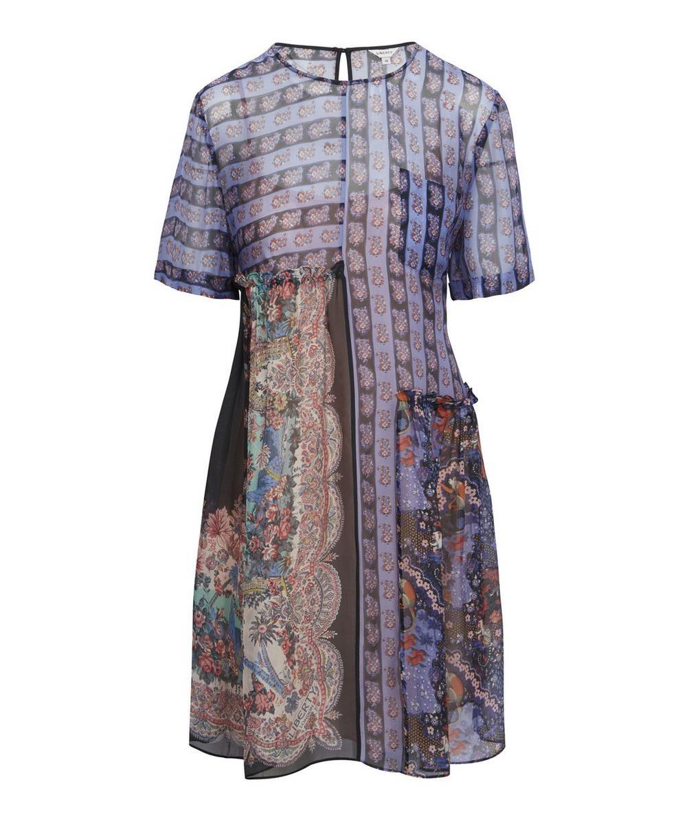 Liberty London Maxine Chiffon Babydoll Dress In Blue
