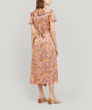 Maxine Silk Satin Ruffled Wrap Dress