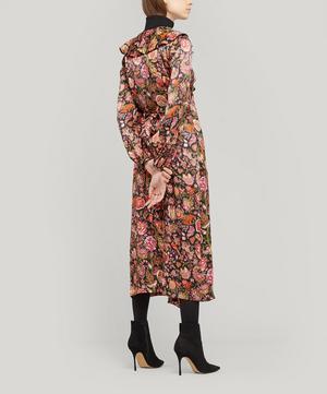 Tree of Life Silk Satin Ruffled Wrap Dress