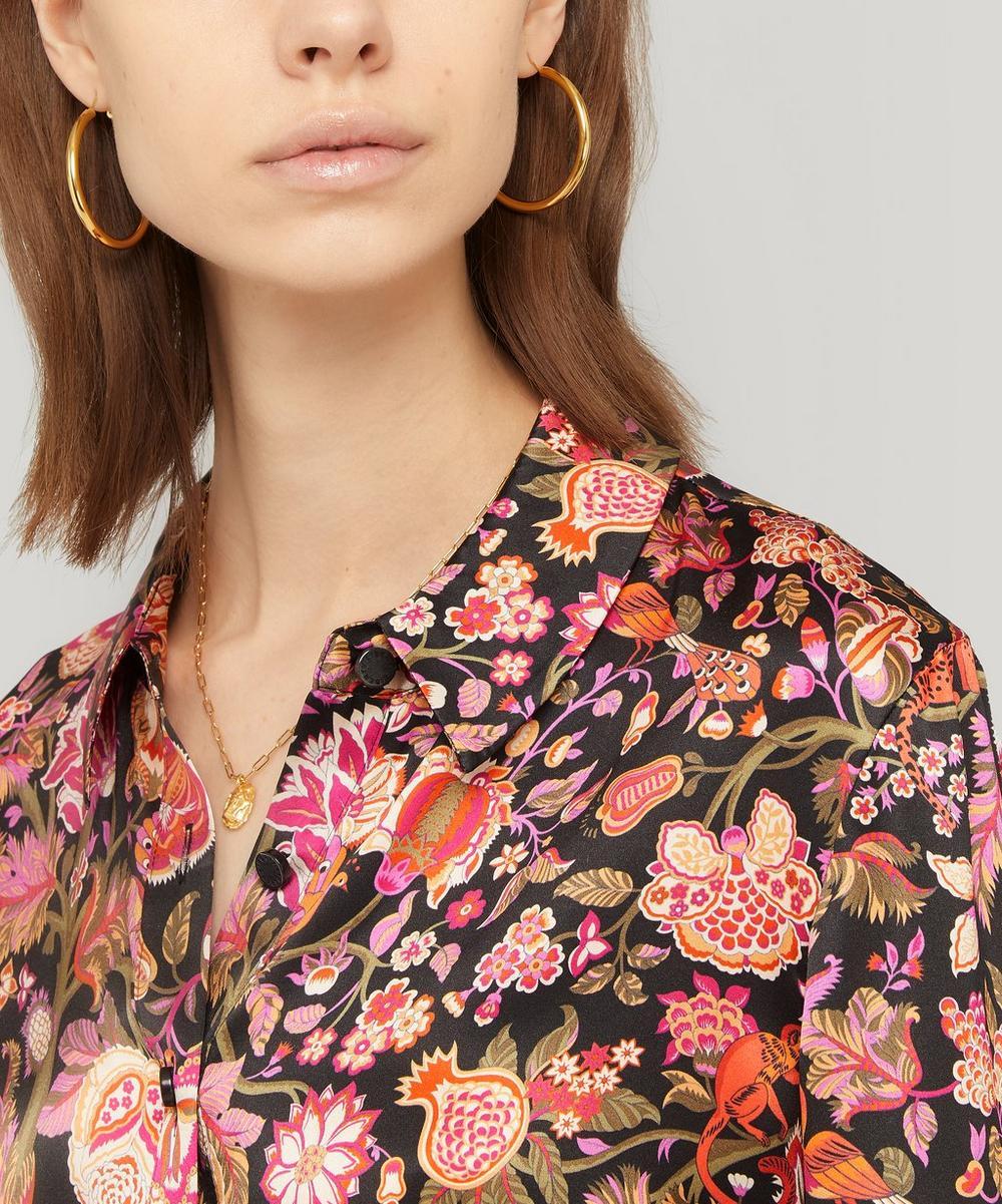 Tree of Life Silk Satin Drawstring Shirt Dress