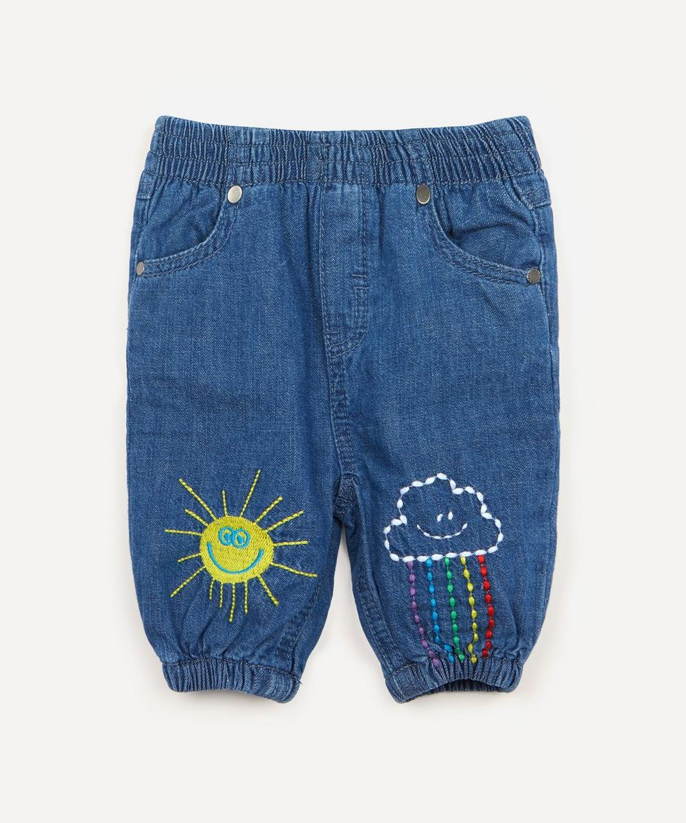 Stella McCartney Kids - Weather-Embroidered Denim Trousers 3 Months-3 Years