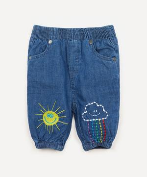 Weather-Embroidered Denim Trousers 3 Months-3 Years