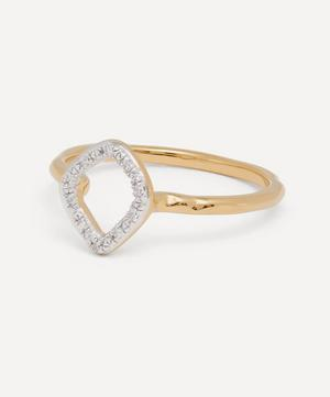 Gold Plated Vermeil Silver Riva Mini Kite Diamond Stacking Ring