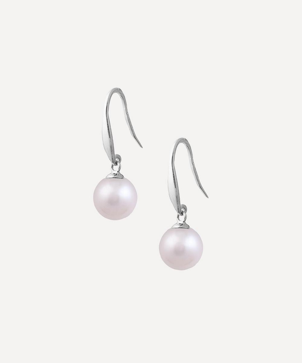 White Gold Pearl Drop Earrings