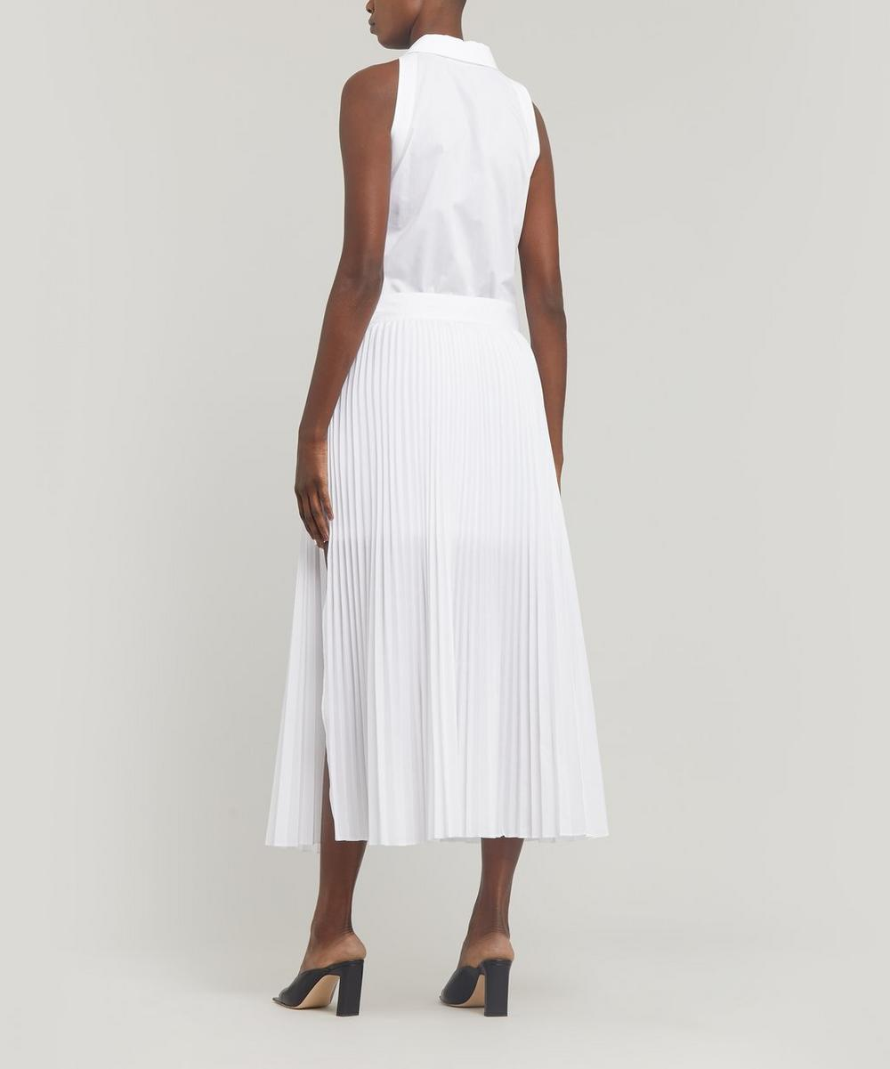 Pleated Button-Up Midi-Dress