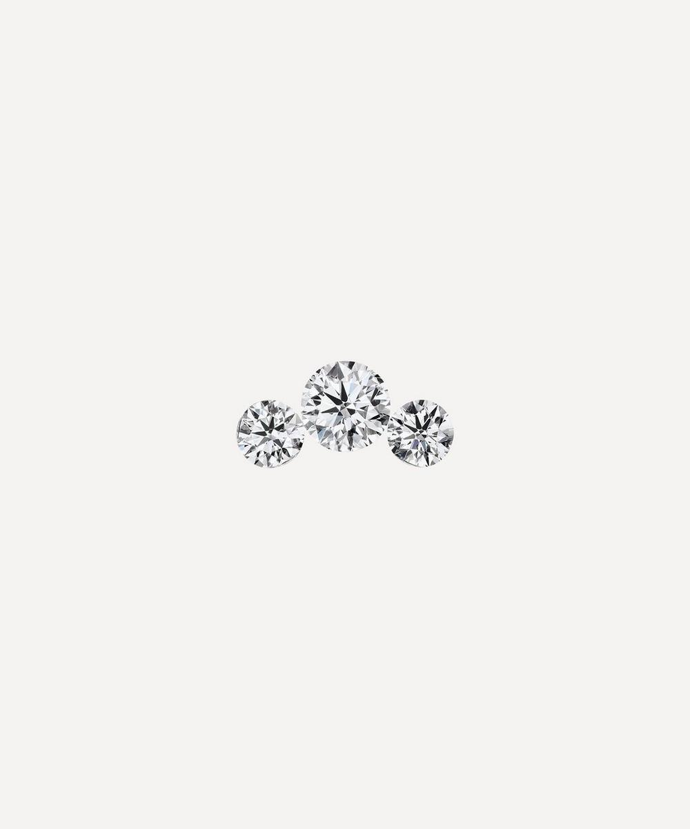 Invisible Set Three Diamond Curve Threaded Stud Earring