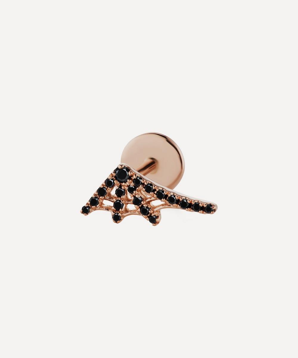 Maria Tash BLACK DIAMOND WEB THREADED STUD EARRING LEFT