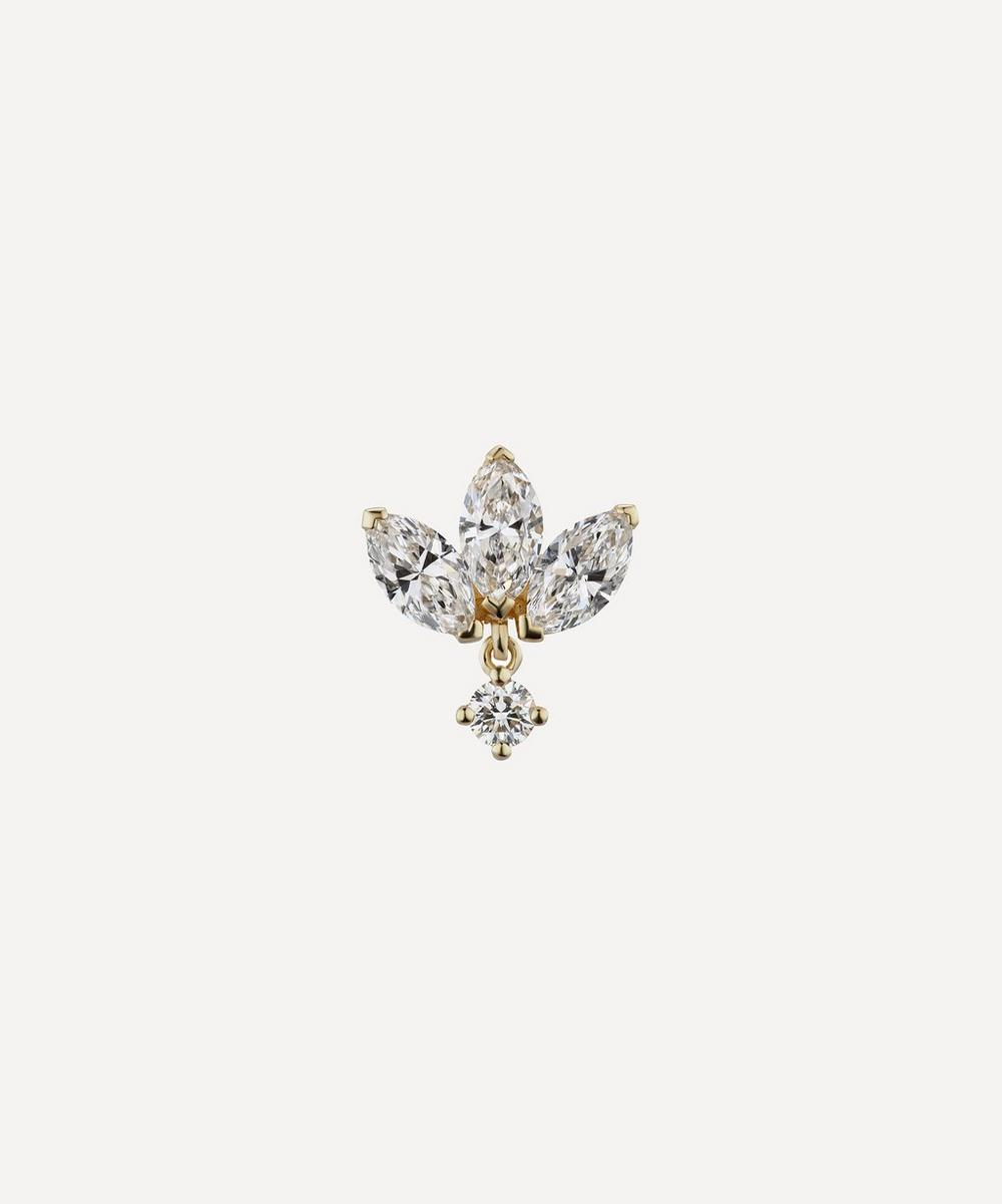 6mm Invisible Diamond Lotus with Dangle Threaded Stud Earring
