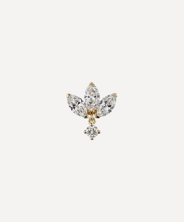 Maria Tash - 18ct 6mm Diamond Engraved Lotus with Dangle Single Threaded Stud Earring