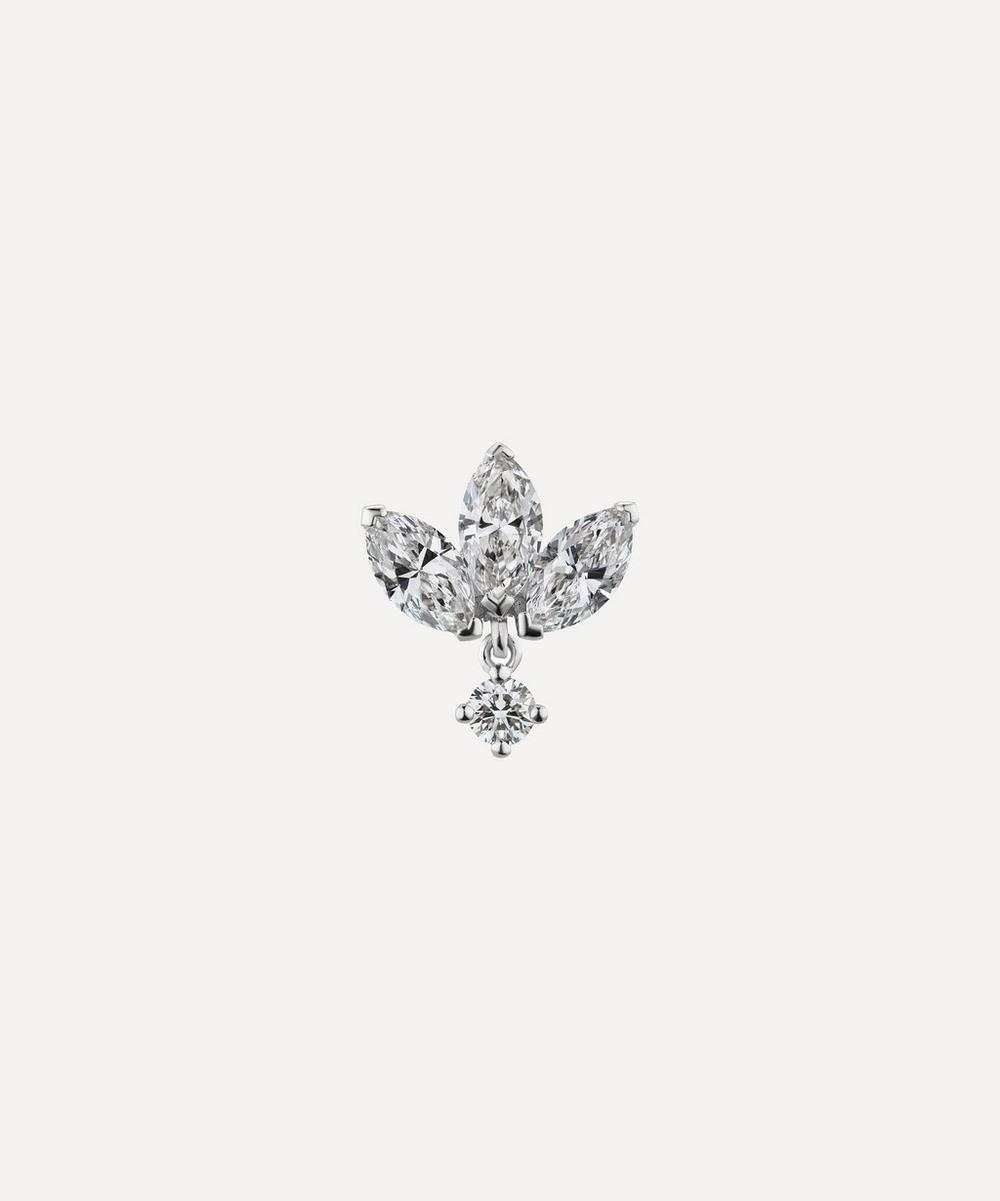Maria Tash 6MM DIAMOND ENGRAVED LOTUS WITH DANGLE THREADED STUD EARRING
