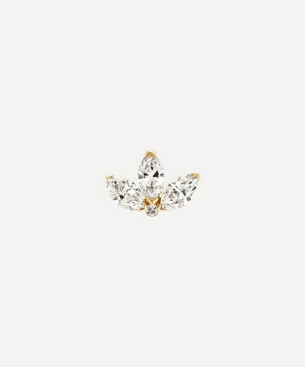 Maria Tash - 4mm Diamond Engraved Lotus Threaded Stud Earring