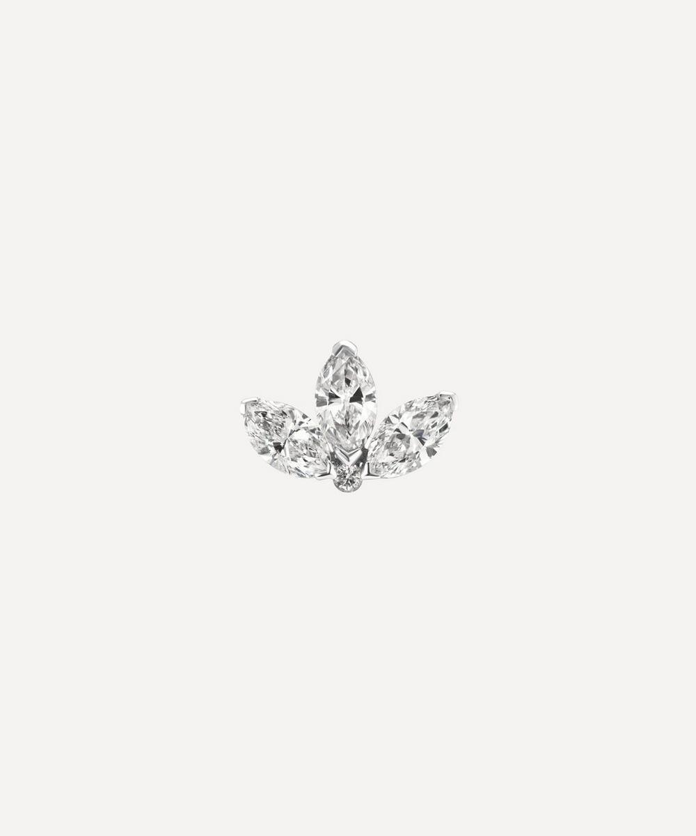 Maria Tash 4MM DIAMOND ENGRAVED LOTUS THREADED STUD EARRING