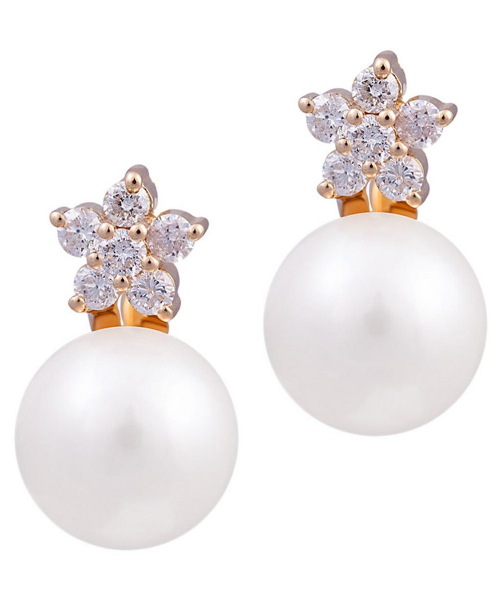 Gold Large Diamond Star and Pearl Drop Earrings