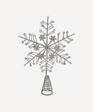 Silver-Tone Glitter Tree Topper