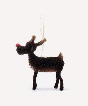 Bristle Red Nose Reindeer Decoration