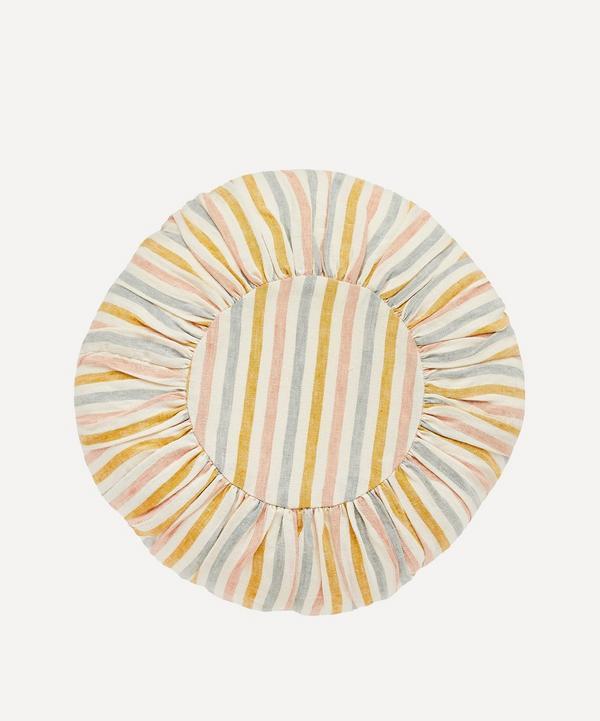 Projektityyny - Summer Stripe Linen Round Cushion
