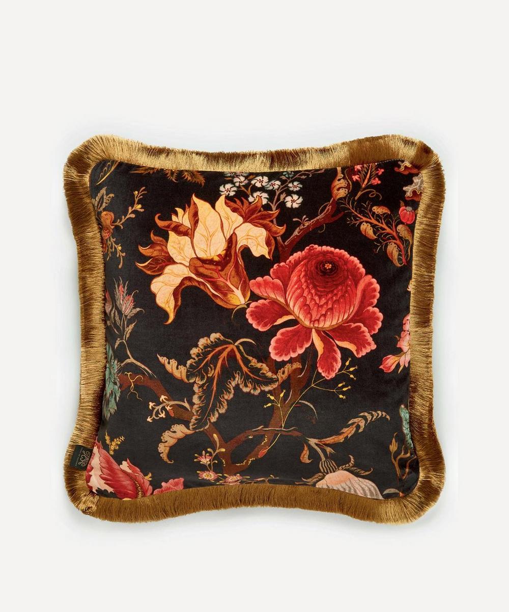 House Of Hackney Artemis Medium Fringed Velvet Cushion In Multi
