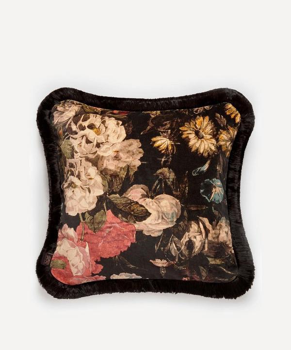 Midnight Garden Medium Fringed Cushion