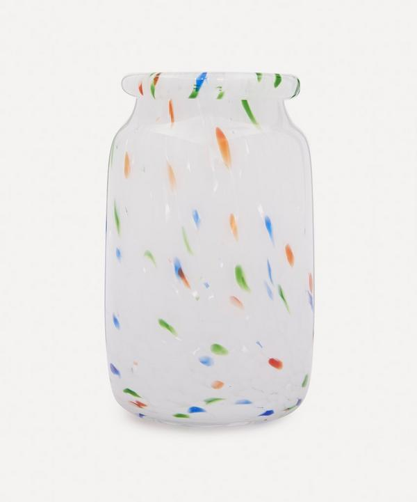 Hay - White Dot Roll-Neck Glass Splash Vase