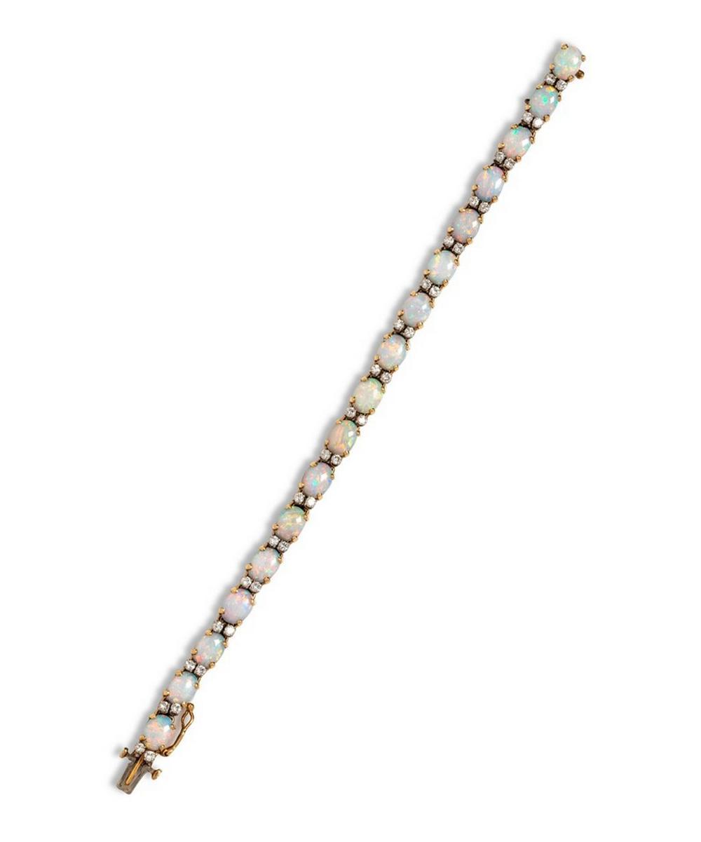 Gold Opal and Diamond Bracelet