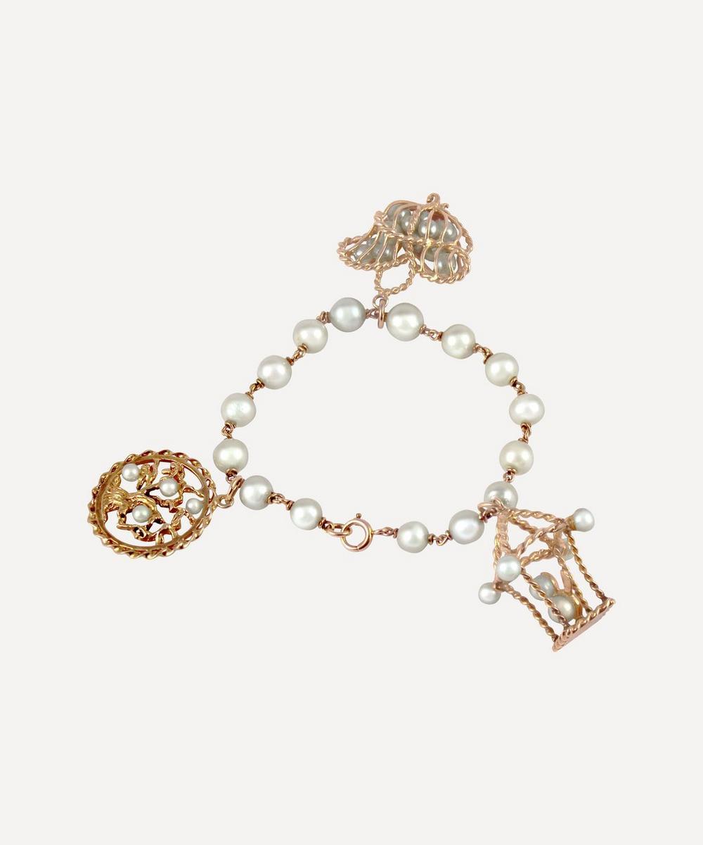 Gold Pearl Charm Bracelet