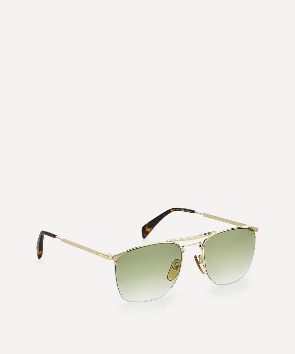 Double Bridge Square-Frame Metal Sunglasses