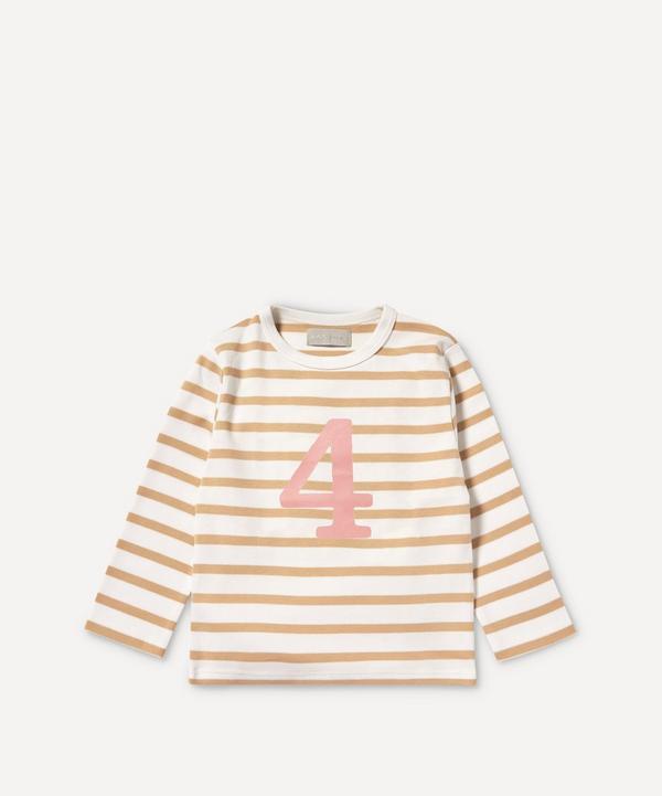 Bob & Blossom - Breton Stripe Number 4 T-Shirt 4-5 Years