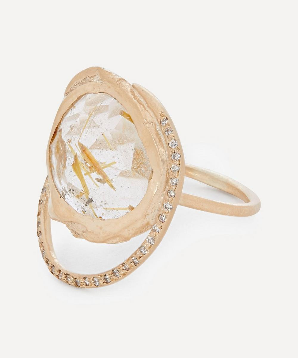 Gold Gaïa Diamond and Rutilated Quartz Ring