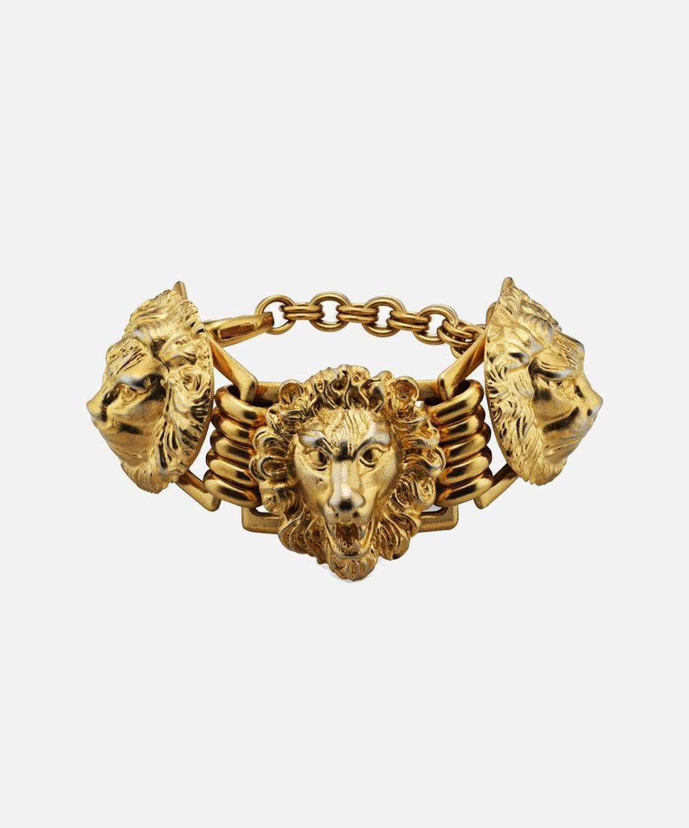 Gold-Tone Lion Head Bracelet