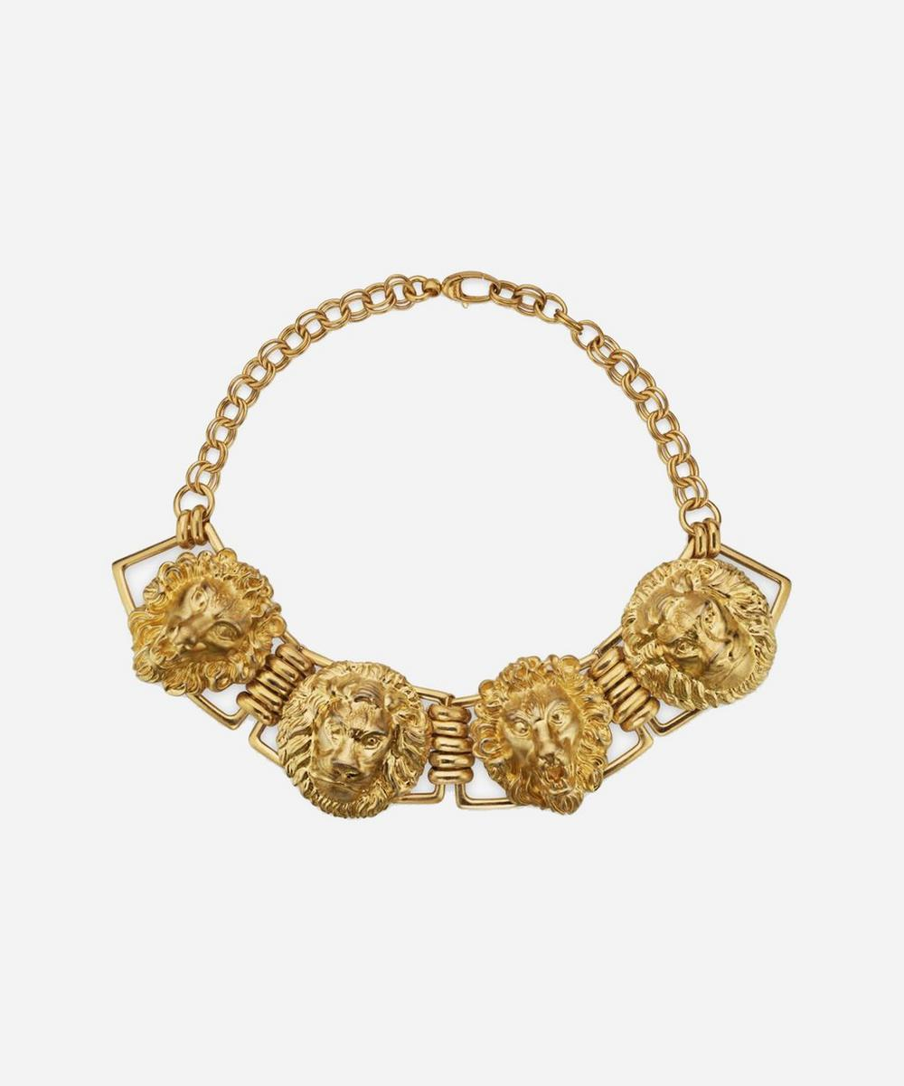 Gold-Tone Lion Head Choker Necklace