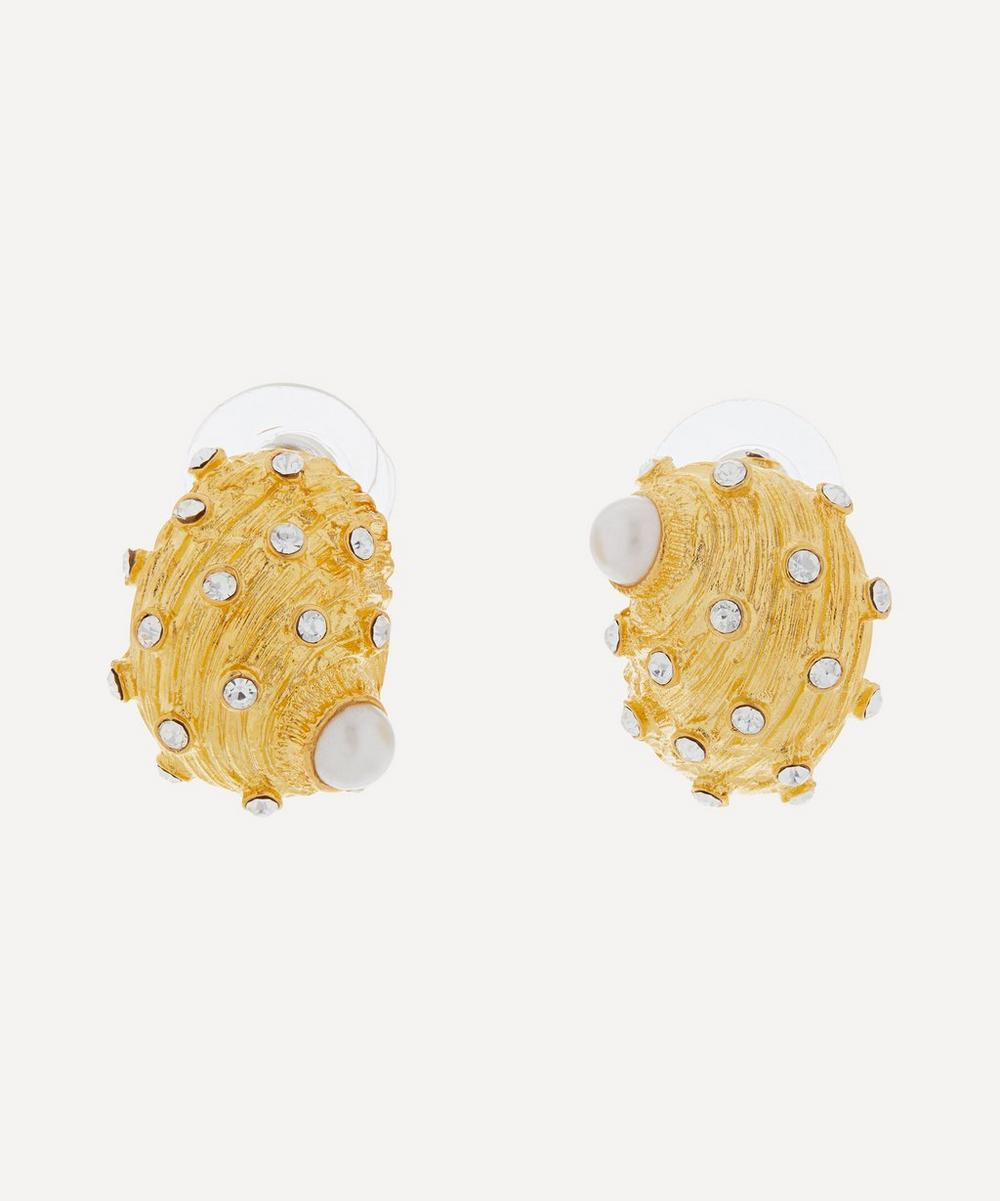 Gold-Plated Crystal and Faux Pearl Shell Stud Earrings