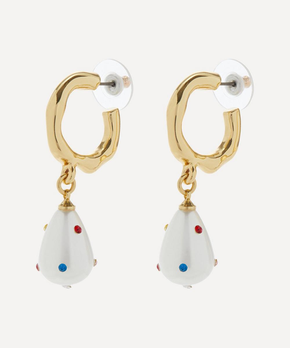 Gold-Plated Crystal and Faux Pearl Drop Hoop Earrings