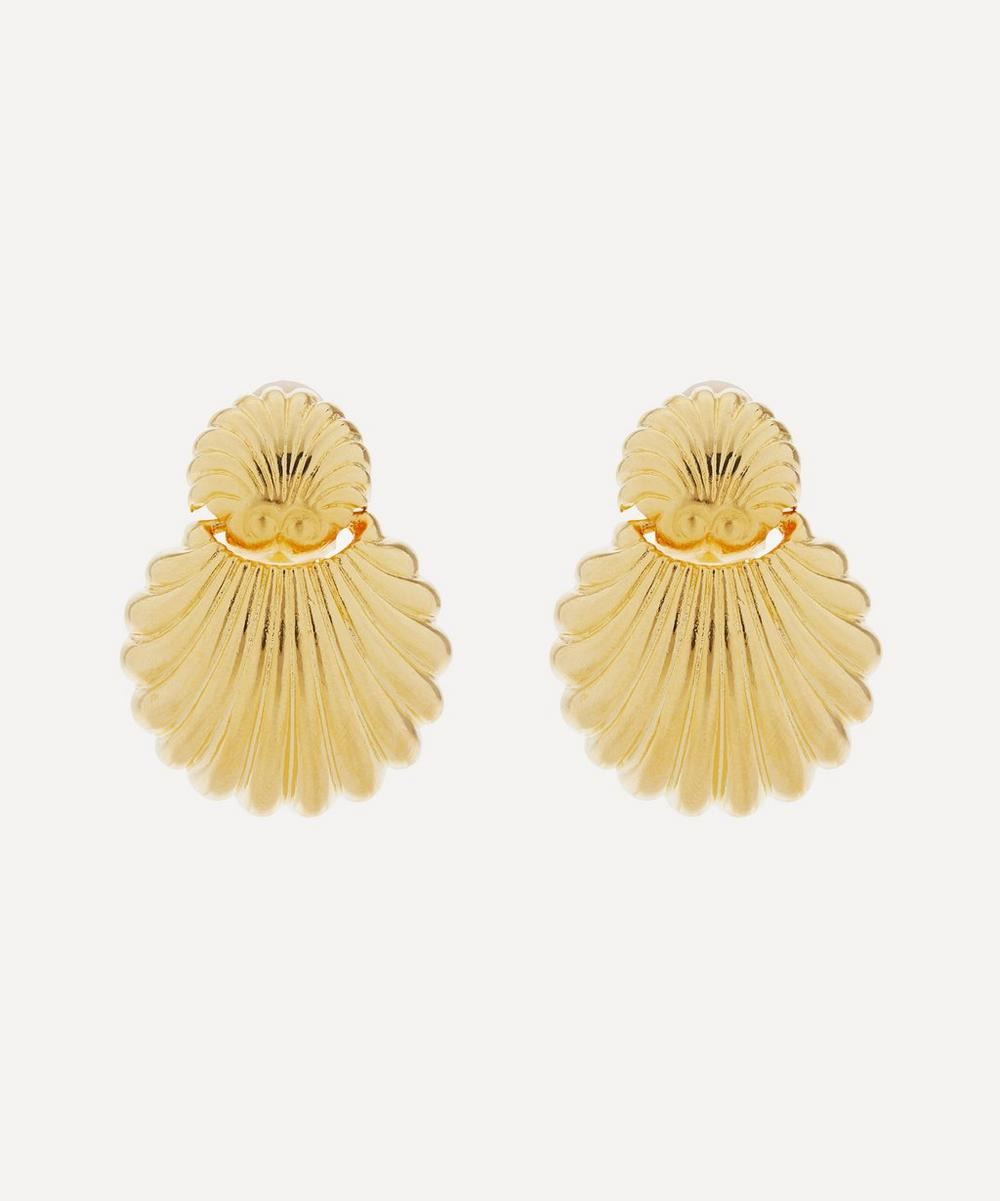 Gold-Plated Shell Clip-On Earrings