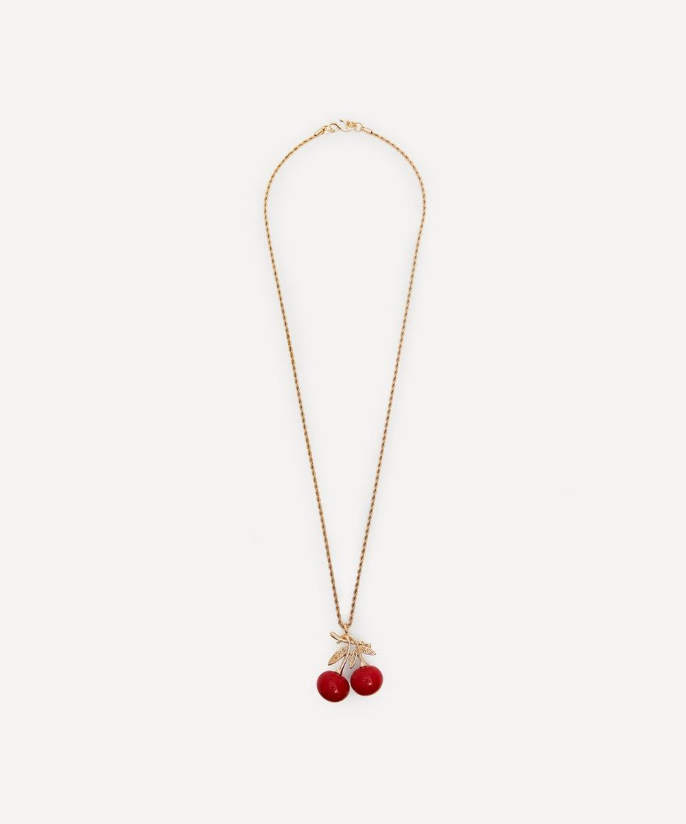 Gold-Plated Double Cherry Pendant Necklace