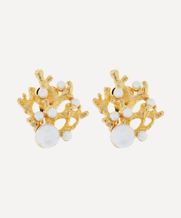 Gold-Plated Faux Pearl Coral Clip-On Earrings