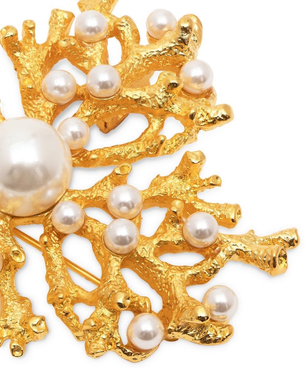 Gold-Plated Faux Pearl Coral Brooch