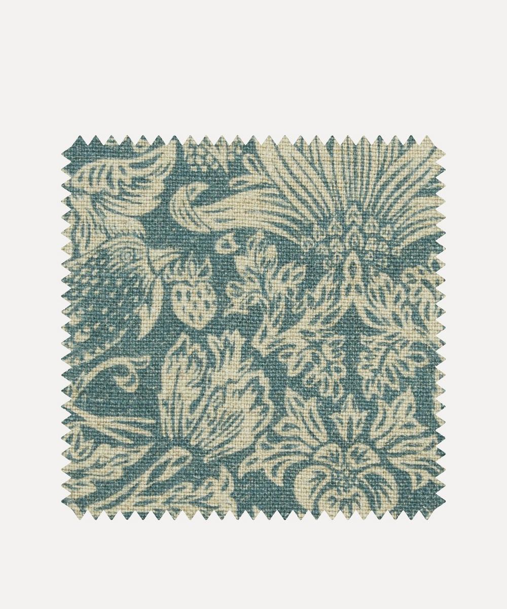 Liberty Interiors - Fabric Swatch - Strawberry Meadowfield Ladbroke Linen in Lichen