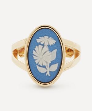 9ct Gold Wedgwood Flower Medium Oval Split Ring