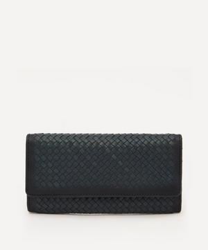 Interlaced Woven Leather Flap Wallet