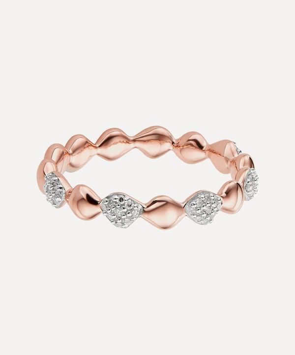 Monica Vinader - Rose Gold Plated Vermeil Silver Nura Teardrop Mixed Eternity Diamond Ring