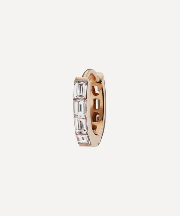 Maria Tash - 18ct 6.5mm Invisible Set Baguette Diamond Eternity Single Hoop Earring
