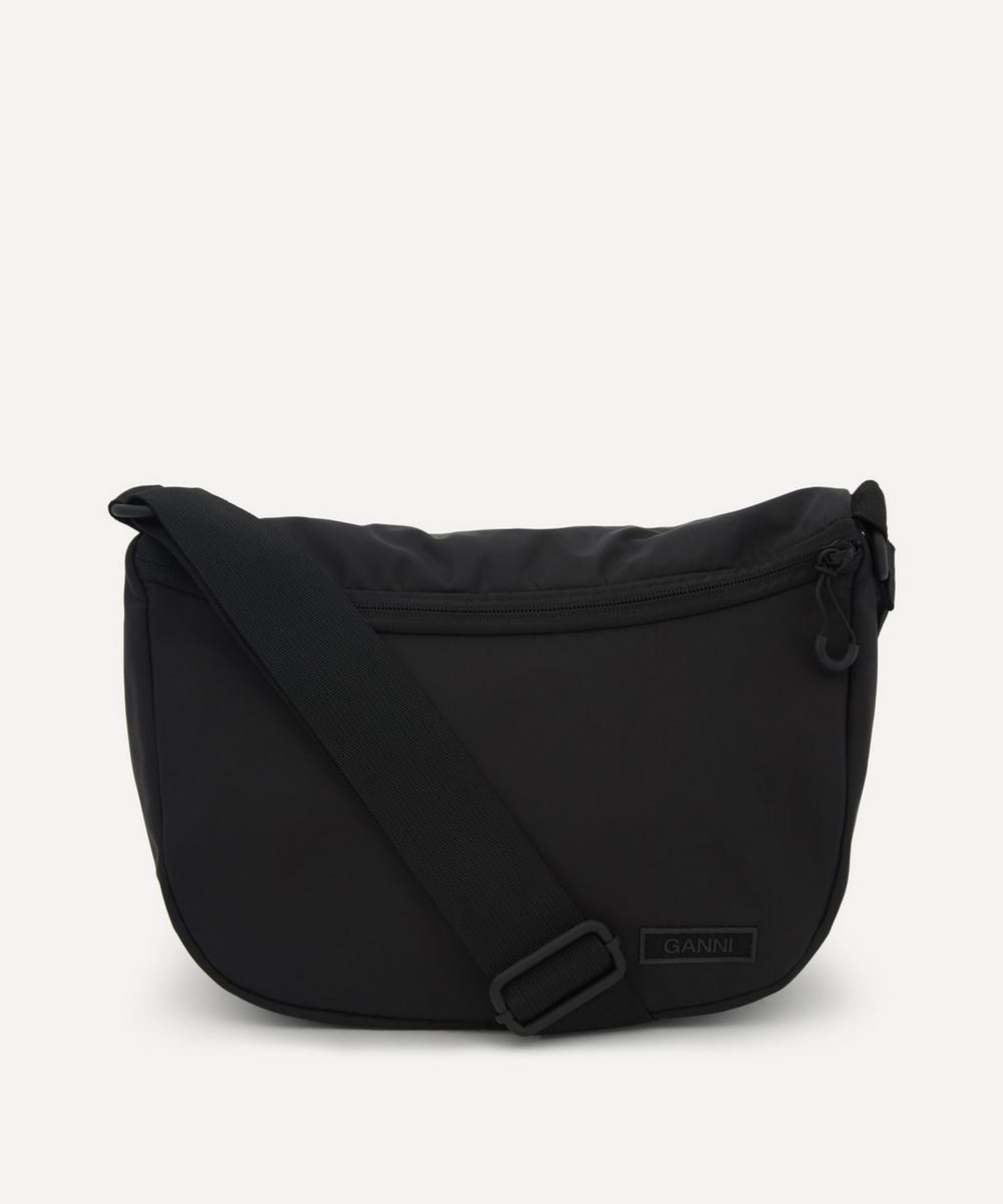 Ganni RECYCLED TECH FABRIC FRONT ZIP SHOULDER BAG