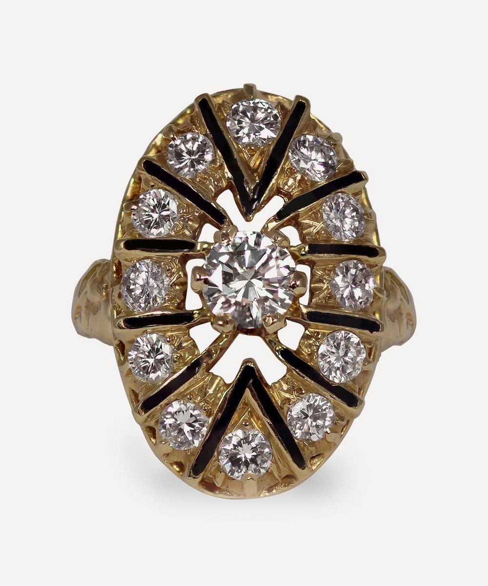 Kojis - Gold Diamond and Enamel Plaque Ring